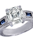 Ascher-cut diamond engagement ring