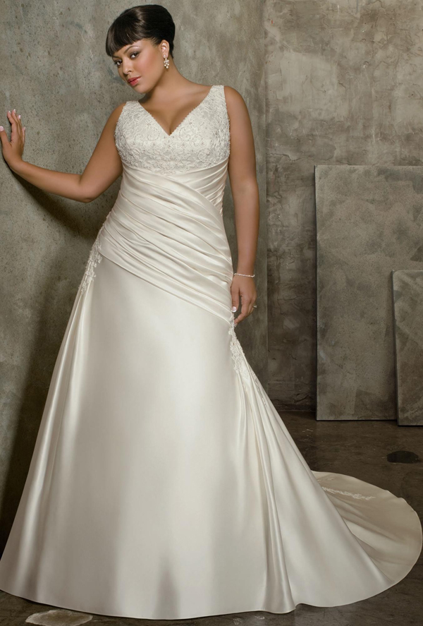 Wedding gowns for plus size brides weddingelation for Colored wedding dresses plus size