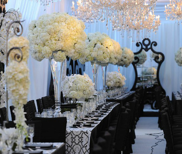 how to set the wedding reception in old hollywood glamour