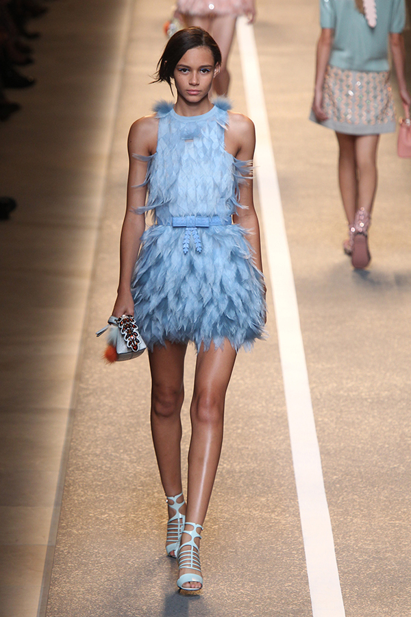 Alluring feathered mini dress
