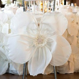 Wedding chair fabric flower decor